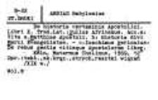 Katalog druków obcych XVI w. Biblioteki Kolegium Filozoficzno-Teologicznego oo. Dominikanów w Krakowie