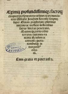 Scriptus super Esaiam prophetam : plurimis internis ac mysticis itellectibus sacras litteras penetrans