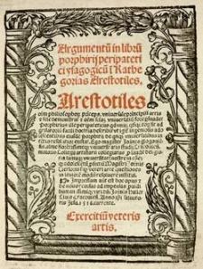 Argumentum in librum Porphyrii Peripatetici Isagogicum in Kathegorias Aristotelis