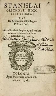 Chimera : sive de Stancari funesta Regno Poloniae Secta