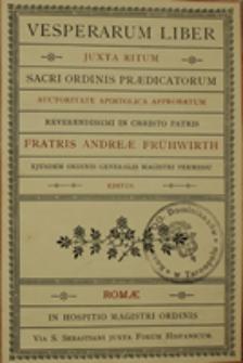 Vesperarum liber juxta ritum Sacri Ordinis Praedicatorum