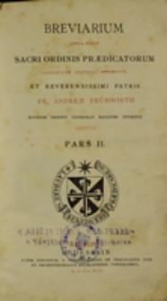 Breviarium juxta ritum Sacri Ordinis Praedicatorum. Pars 2