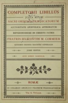 Completorii libellus juxta ritum Sacri Ordinis Praedicatorum