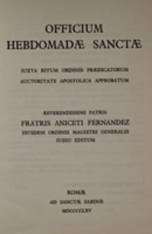 Officium hebdomadae sanctae iuxta ritum Ordinis Praedicatorum