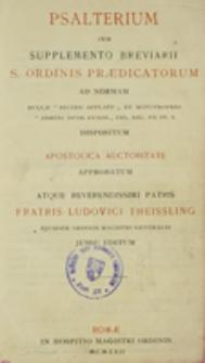 Psalterium cum Supplementum Breviarii S. Ordinis Praedicatorum