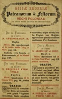 Missae propriae Patronorum et Festorum Regni Poloniae ad usum Sacri Ordinis Praedicatorum