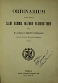 Ordinarium juxta ritum Sacri Ordinis Fratrum Praedicatorum