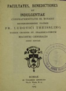 Facultates, Benedictiones et Indulgentiae Confraternitatis SS. Rosarii