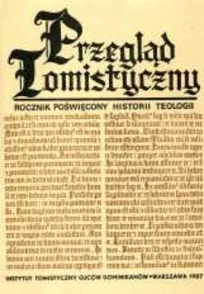 Przegląd Tomistyczny : rocznik poświęcony historii teologii. T. 3 (1987)