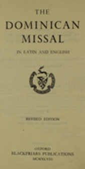 The Dominican Missal in latin and english